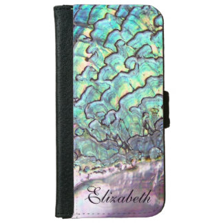 Iridescent Natural Jewel Abalone Mother of Pearl Wallet Phone Case For iPhone 6/6s