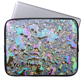 Iridescent Oil Drops Wet Look with Your Name Laptop Sleeve