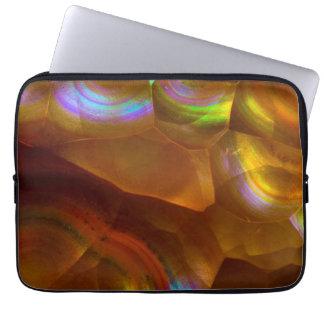 Iridescent orange fire opal laptop sleeve