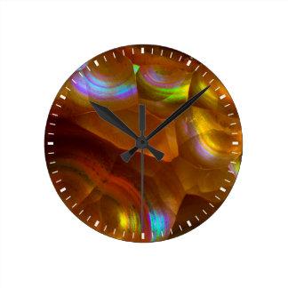 Iridescent orange fire opal round clock
