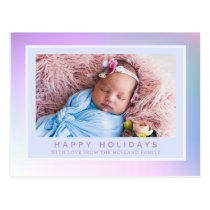 Iridescent Pastel Happy Holiday Photo Postcard