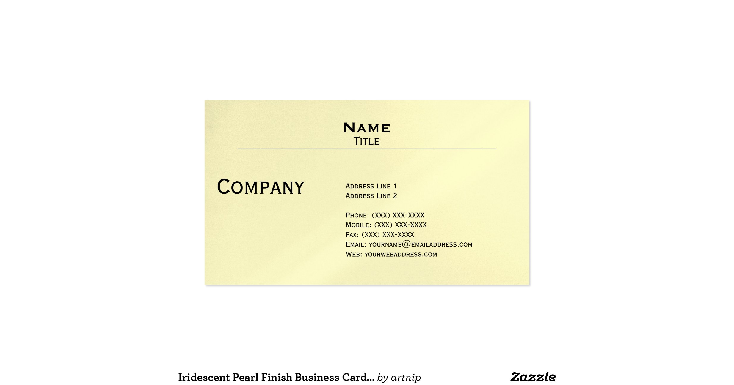 Iridescent pearl finish business card template for Iridescent business cards
