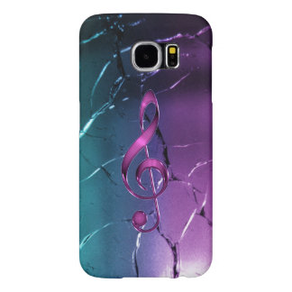 Iridescent Pink and Blue Music Clef Galaxy S6 Case