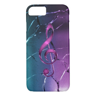 Iridescent Pink and Blue Music Clef iPhone 7 Case
