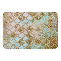 Iridescent Pink Gold Glitter Mermaid Fish Scales Bathroom Mat