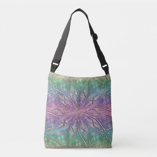 Iridescent Pink Purple Green Gold Mandala Crossbody Bag