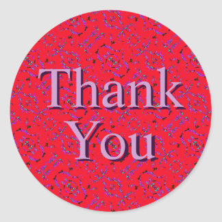 Iridescent Red Purple Pattern Thank You Stickers