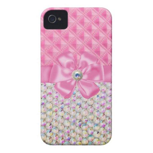 Iridescent Rhinestones Ribbon Bows Iphone Case Case-Mate iPhone 4 Case