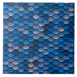 Iridescent Shiny Blue Mermaid Fish Scales Tile