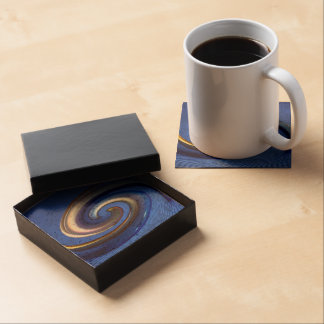 Iridescent Silver Blue Swirl Abstract Drink Coasters