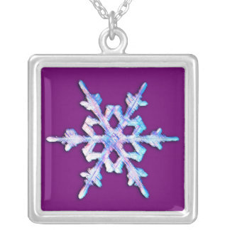 Iridescent snowflake on amethyst purple silver plated necklace