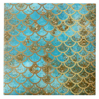 Iridescent Teal Gold Glitter  Mermaid Fish Scales Ceramic Tile
