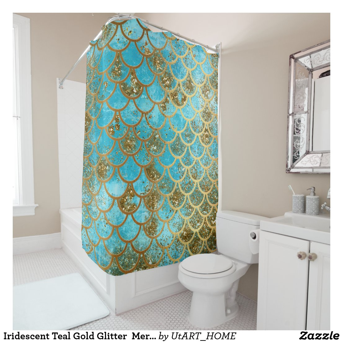 Iridescent Teal Gold Glitter  Mermaid Fish Scales Shower Curtain