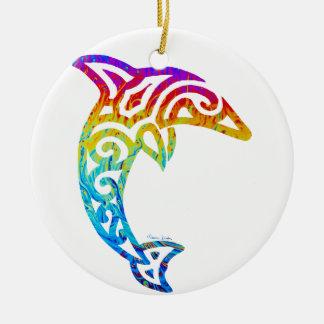 Iridescent Tribal Dolphin Ceramic Ornament