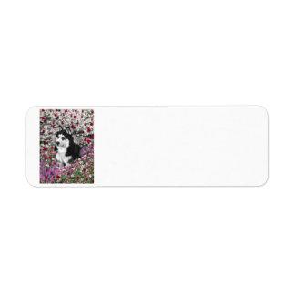 Irie el husky siberiano en flores etiqueta de remite