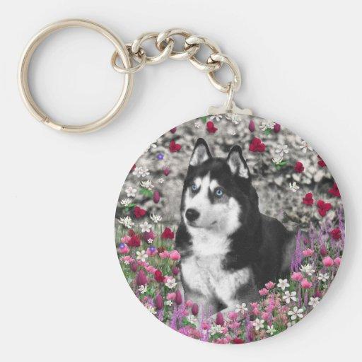 Irie el husky siberiano en flores llavero redondo tipo pin