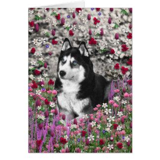 Irie el husky siberiano en flores tarjeta de felicitación