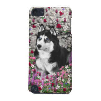 Irie Siberian Husky in Flowers, Black White Dog iPod Touch (5th Generation) Case