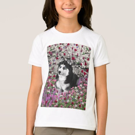 Irie Siberian Husky in Flowers, Black White Dog T-Shirt