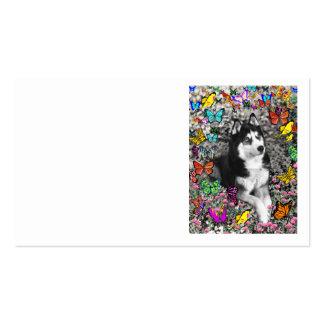 Irie the Siberian Husky in Butterflies Business Card Template