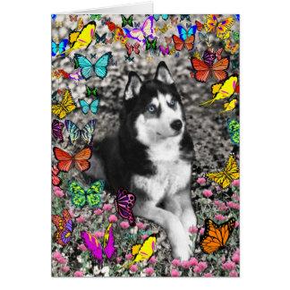 Irie the Siberian Husky in Butterflies Greeting Card