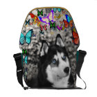 Irie the Siberian Husky in Butterflies Courier Bag