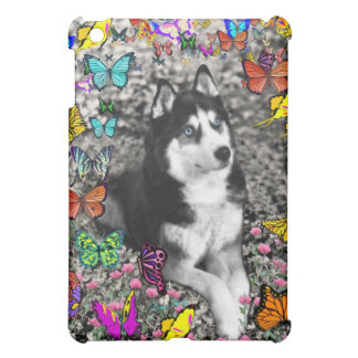 Irie the Siberian Husky in Butterflies Cover For The iPad Mini