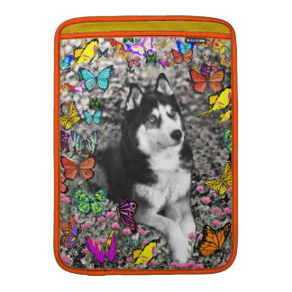 Irie the Siberian Husky in Butterflies MacBook Air Sleeve