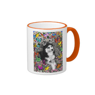 Irie the Siberian Husky in Butterflies Coffee Mug