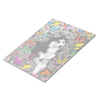 Irie the Siberian Husky in Butterflies Notepad
