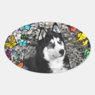 Irie the Siberian Husky in Butterflies Oval Sticker