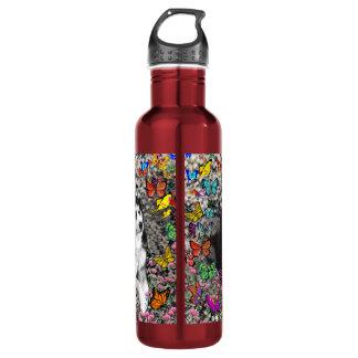 Irie the Siberian Husky in Butterflies 24oz Water Bottle
