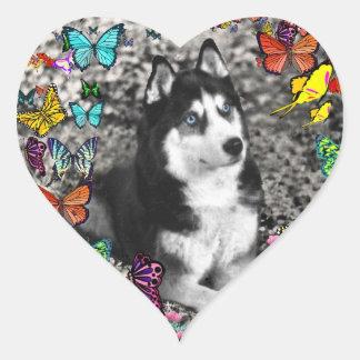 Irie the Siberian Husky in Butterflies Heart Sticker