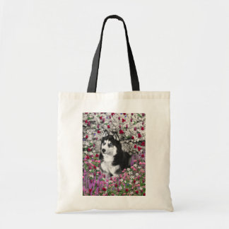 Irie the Siberian Husky in Flowers Budget Tote Bag