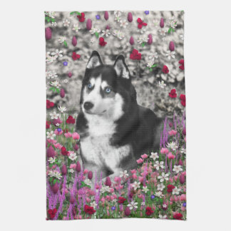 Irie the Siberian Husky in Flowers Hand Towels