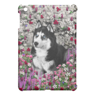Irie the Siberian Husky in Flowers Cover For The iPad Mini