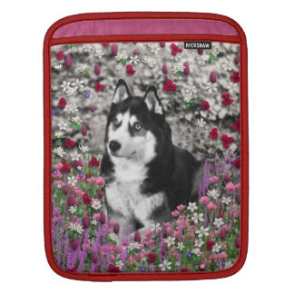 Irie the Siberian Husky in Flowers iPad Sleeve