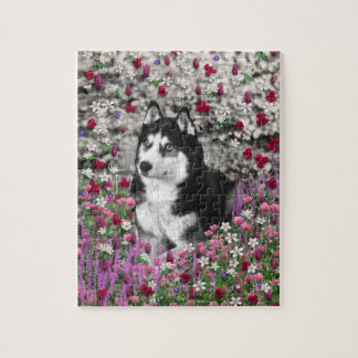Irie the Siberian Husky in Flowers Jigsaw Puzzles
