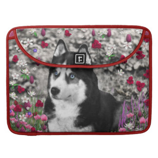 Irie the Siberian Husky in Flowers MacBook Pro Sleeve