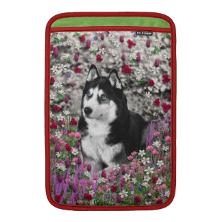 Irie the Siberian Husky in Flowers MacBook Sleeve
