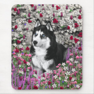 Irie the Siberian Husky in Flowers Mouse Pad