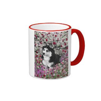 Irie the Siberian Husky in Flowers Mugs