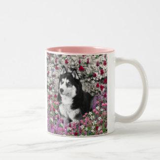 Irie the Siberian Husky in Flowers Coffee Mug