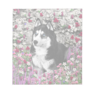 Irie the Siberian Husky in Flowers Notepad