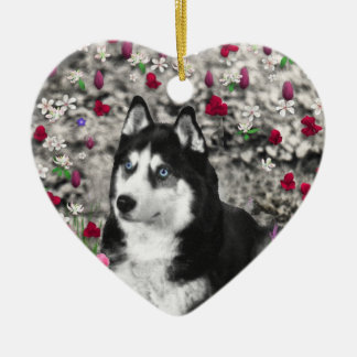 Irie the Siberian Husky in Flowers Ornament