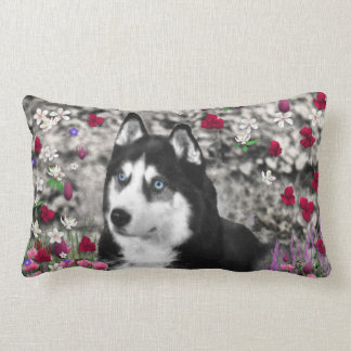 Irie the Siberian Husky in Flowers Pillows
