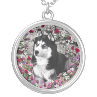 Irie the Siberian Husky in Flowers Round Pendant Necklace