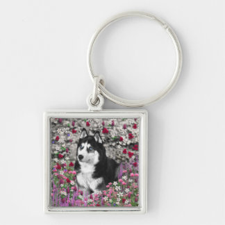 Irie the Siberian Husky in Flowers Silver-Colored Square Keychain