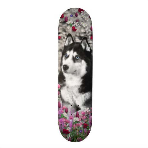 Irie the Siberian Husky in Flowers Skateboard Deck