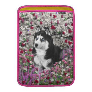 Irie the Siberian Husky in Flowers Sleeve For MacBook Air